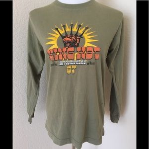 Vintage Graphic T shirt Army green Long sleeves
